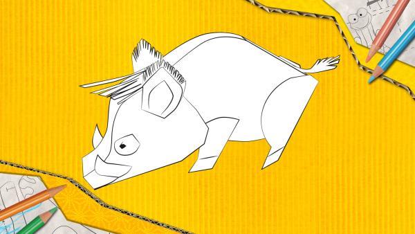 Ein Wildschwein zum Basteln, das aus Papier zusammengesteckt und geklebt wird. | Rechte: KiKA