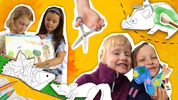 Bildcollage aus verschiedenen Fotos von Kindern, die herbstliche Stecktiere basteln oder ein Bild malen. | Rechte: KiKA