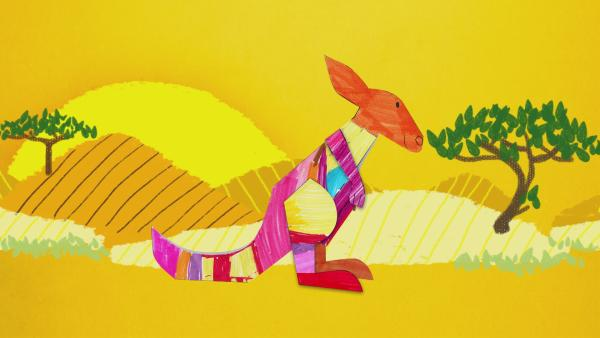 Ein bunt gestreiftes Steckkänguru hüpft durch die Steckwelt. | Rechte: KiKA