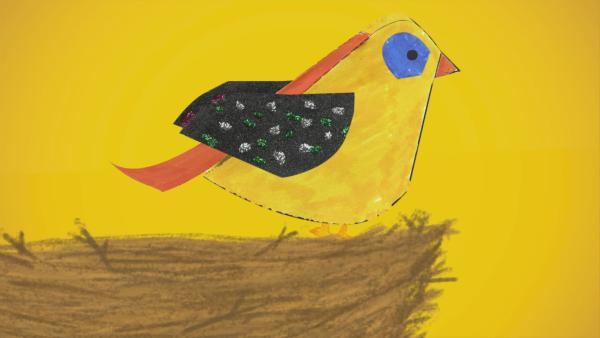 Ein Steckvogel sitzt in seinem Vogelnest.  | Rechte: KiKA