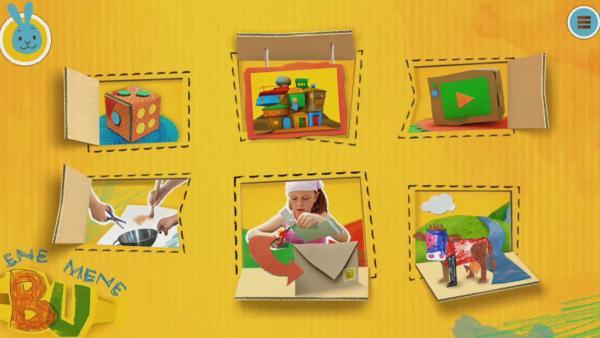 Die bunte Startseite von enemenebu.de mit den sechs Themenwelten: Spiele, Museum, Videos, Selbermachen, Aufrufe und Steckwelt. | Rechte: KiKA