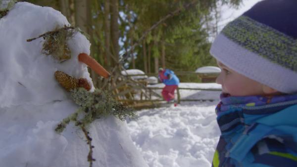 David schaut sich seinen Schneemann an. Der hat eine Möhre als Nase, der Mund ist ein Tannenzapfen und für die Augen hat er Moos genommen. | Rechte: KiKA