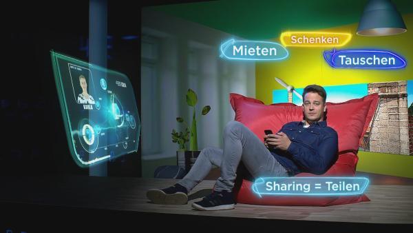 Felix erklärt den Begriff Sharing. | Rechte: KiKA/tvision GmbH