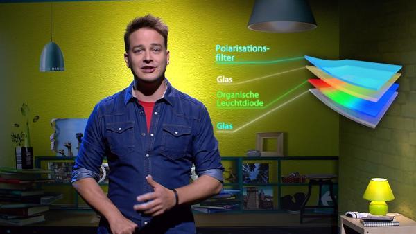 Wie ein moderner Fernsehbildschirm aufgebaut ist und was dieser mittlerweile noch alles kann, zeigt euch Felix bei Erde an Zukunft.   Rechte: KiKA