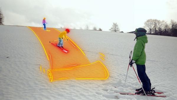 Kann Wintersport so überhaupt nachhaltig und umweltverträglich sein? Felix checkt verschiedene Alternativen, die es in Zukunft vielleicht geben wird. | Rechte: KiKA