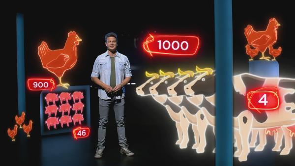 In Deutschland wird so viel Fleisch produziert wie nie. Pro Jahr sind es fast 60 Millionen Schweine, ungefähr 3,5 Millionen Rinder und über 600 Millionen Hühner, Enten und Puten. Jeder von uns isst durchschnittlich mehr als 1.000 Tiere im Laufe seines ganzen Lebens. | Rechte: KiKA