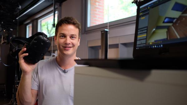 Felix bei der virtuellen Begehung eines Tatorts . | Rechte: KiKA/Julia Lutz/tvision GmbH