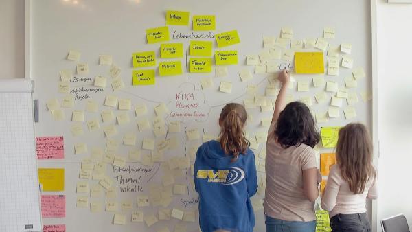 Die Ideen des Workshops an der Pinwand. | Rechte: KiKA