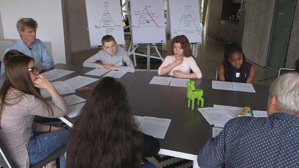 Die Profs sammeln beim Workshop erste Ideen für das Planspiel. | Rechte: KiKA