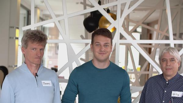 Felix mit den Professoren Thomas Eberle und Willy Kriz | Rechte: KiKA