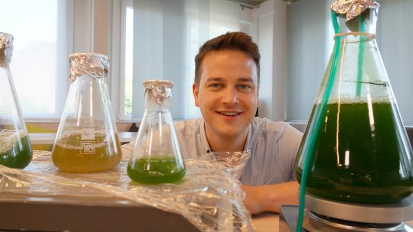 Felix mit Glasgefäßen, in denen sich Mikroalgen in unterschiedlicher Konzentration befinden. | Rechte: KiKA/tvision