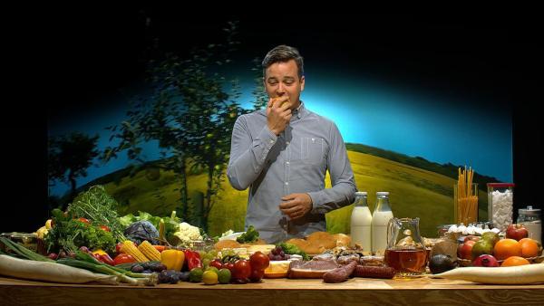 Felix schmeckt's schon mal! Aber welche Nahrungsmittel sind besonders klimafreundlich? | Rechte: KiKA