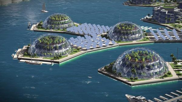 ... ganze Städte mit Gewächshäusern und Solarzellen. Noch ist nichts gebaut, aber vieles denkbar. | Rechte: The-Seasteading-Institute-by-Luke Gabriel-Scheare-Lourdes-Crowley-and-Patrick-White