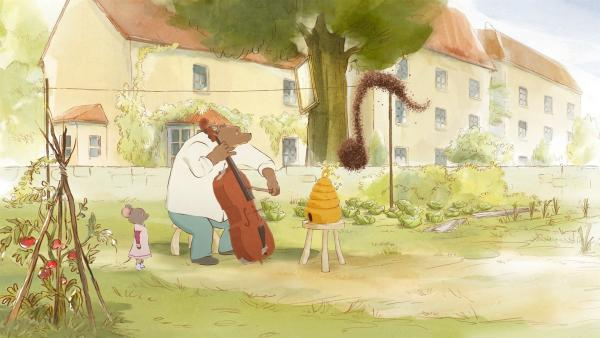 Ernest (2.v.l.) versucht seine Bienen mit Musik zu beruhigen. | Rechte: ZDF / OLIVARI / MELUSINE PRODUCTIONS / SO-NORD / RTBF