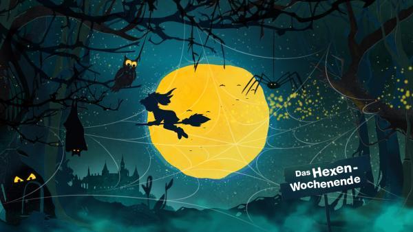Nachtlandschaft mit Mond und fliegender Bibi Blocksberg | Rechte: KiKA/ ZDF