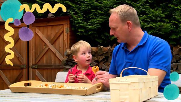 Oskar sammelt Pilze im Wald. | Rechte: rbb/fischer tv + film