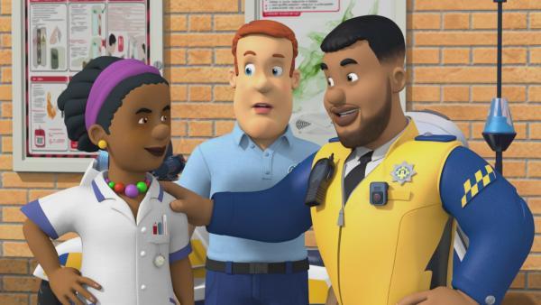 Polizist Malcolm und Krankenschwester Helen | Rechte: KiKA