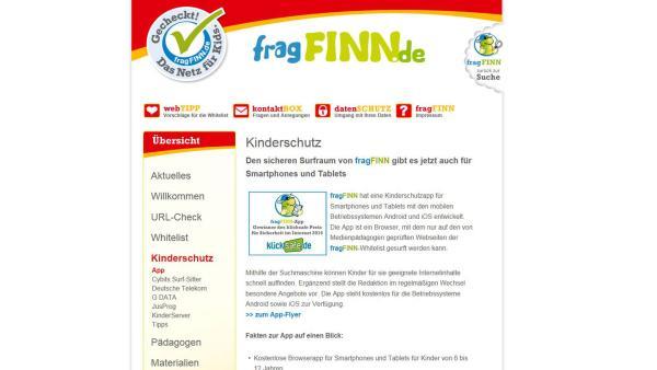 Screenshot fragfinn.de   Rechte: Screenshot fragfinn.de