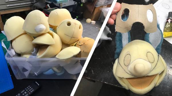 Fidis Kopf. Um aus der Vorlage eine 3D-Figur herzustellen, werden einige Formen getestet. | Rechte: KiKA