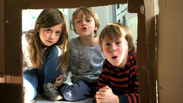 Drei Kinder in Haus aus Pappe | Rechte: KiKA