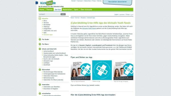 Screenshot der (Cyber)Mobbing Erste-Hilfe App | Rechte: Screenshot klicksafe.de