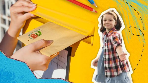 Hand steckt Birefumschlag in einen Briefkaste. Daneben steht ein Mädchen vor gelben Hintergrund mit Papierelementen und Stiften.    Rechte: KiKA