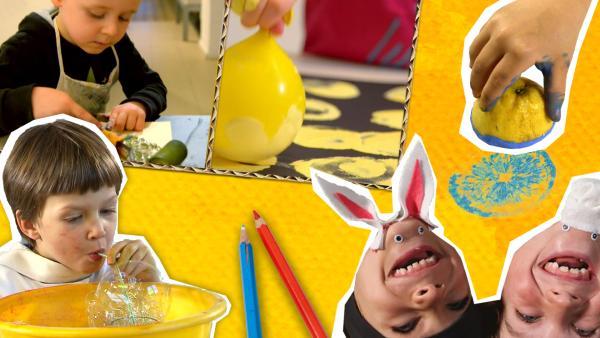 Auf dem Bild sieht man verschiedene Kinder die was kreatives machen. Links oben sieht man einen Jungen der mit Luftpolsterfolie malt. Links unten siehteinen Jungen der in einen gelben Behälter Seifenblasen macht. Unten rechts liegen zwei Kinder kopfüber und haben Augen und Hasenohren an ihr Kinn geklebt.  | Rechte: KiKA