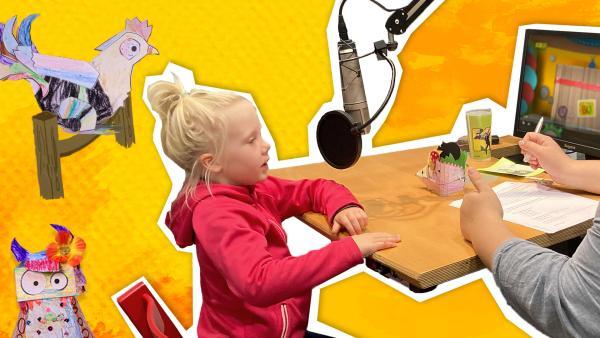 Auf dem Bild sieht man ein Mädchen, dass vor einem Mikrofon sitzt.    Rechte: KiKA