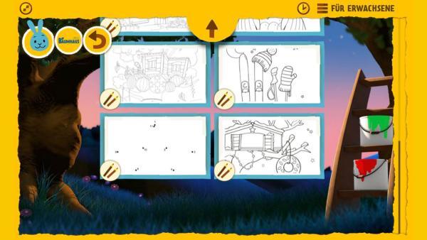 """Mit einem Klick auf das """"Stifte und Pinsel""""-Symbol öffnen sich viele Ausmalbilder zum """"Baumhaus"""". Diese können heruntergeladen und anschließend ausgemalt werden."""