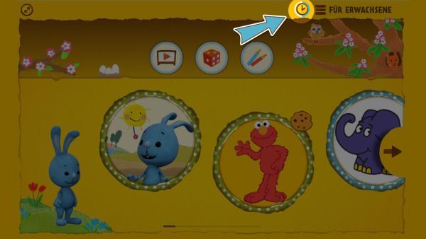 Das Uhr-Symbol oben rechts zeigt Kindern an wie viel Zeit sie zum Spielen und Anschauen von Videos noch haben. | Rechte: KiKA