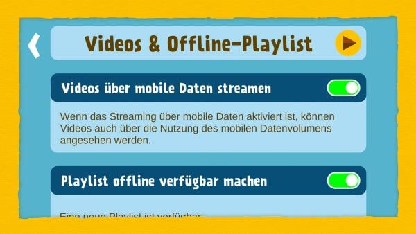 Auswahl Videos & Offline-Playlist
