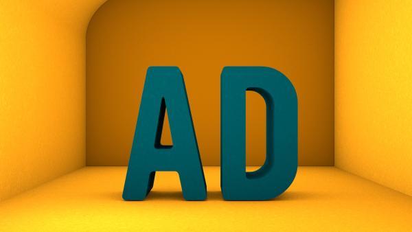 Zwei große, große Buchstaben A und D vor gelbem Hintergrund | Rechte: kika
