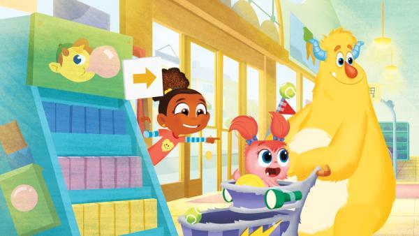 Esme versucht Tillie beim Einkaufen auf die richtige Fährte zu bringen. | Rechte: KiKA/Nelvana