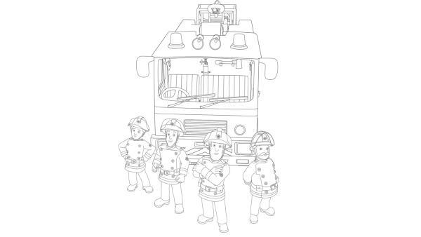 Feuerwehrmann Sam mit seinem Feuerwehrteam und dem Einsatzfahrzeug Jupiter | Rechte: Prism Art & Design, HIT Entertainment