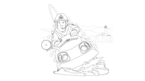 Feuerwehrmann Sam fährt mit dem Jetski Juno zum Einsatz | Rechte: Prism Art & Design, HIT Entertainment