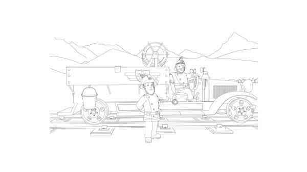 Feuerwehrmann Sam und Hauptfeuerwehrmann Steele sind mit der Draisine Bessie im Einsatz. | Rechte: Prism Art & Design, HIT Entertainment
