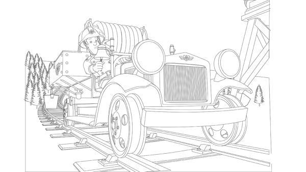 Feuerwermann Sam ist mit der Draisine Bessie unterwegs zum Einsatz | Rechte: Prism Art & Design, HIT Entertainment