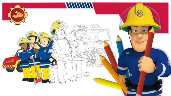 Hier findest du Ausmalbilder von Feuerwehrmann Sam | Rechte: Prism Art & Design, HIT Entertainment