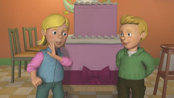 Sarah bittet Norman aus der Torte zu springen. | Rechte: KiKA/2011 Prism Art & Design Limited