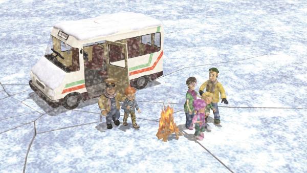 Trevor und die anderen sind mit dem Bus aufs Eis geraten, das nun droht nachzugeben.   Rechte: KiKA/2011 Prism Art & Design Limited