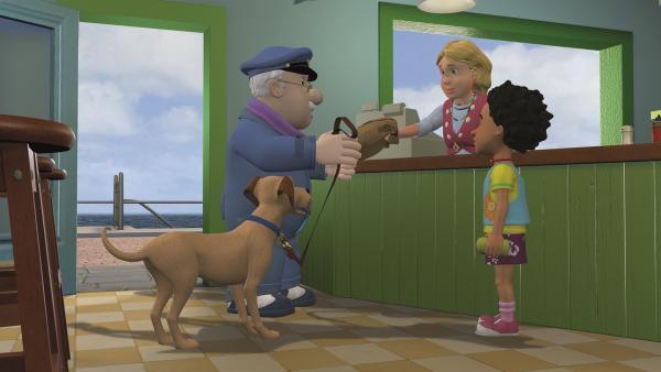 Gwendolyn reicht ihrem Vater Gareth ein Pausenbrot für den Ausflug. | Rechte: KiKA/2011 Prism Art & Design Limited