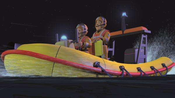 Feuerwehrmann Sam und Penny rücken aus, um Norman aus dem Wasser zu retten. | Rechte: KiKA/2011 Prism Art & Design Limited
