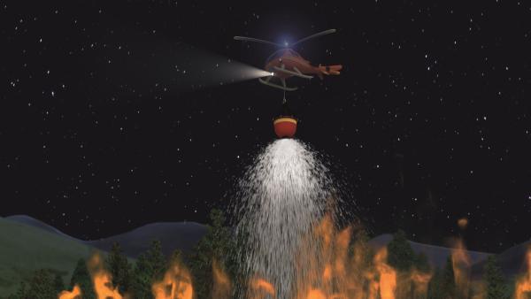 Nur mit einem Hubschrauber kann der verheerende Brand gelöscht werden. | Rechte: KiKA/2011 Prism Art & Design Limited