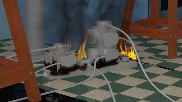 Die Steckdosenleiste überhitzt und fängt Feuer.    Rechte: KiKA/2014 Prism Art & Design Limited