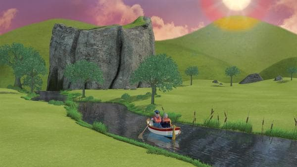 Die Sonne geht unter, aber Gareth, Hauptfeuerwehrmann Steele und die Zwillinge sind noch immer mit dem Boot unterwegs.   Rechte: KiKA/2014 Prism Art & Design Limited