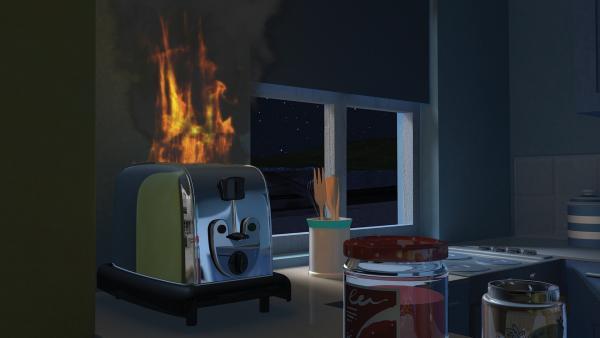 Keiner bemerkt, dass der Toaster Feuer fängt. | Rechte: KiKA/2014 Prism Art & Design Limited