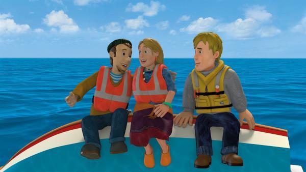 Charlie und Gwendolyn lehren Ben das Pontypandy-Seefahrerlied. | Rechte: KiKA/2014 Prism Art & Design Limited