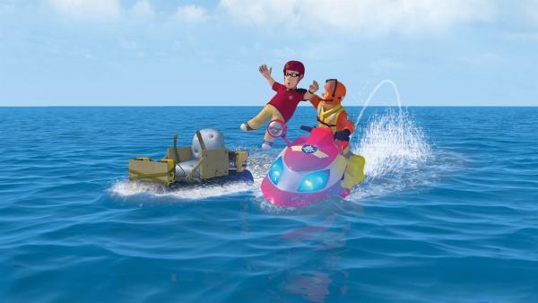 Feuerwehrmann  Sam kann Joe aus dem Meer retten. | Rechte: KiKA/2014 Prism Art & Design Limited