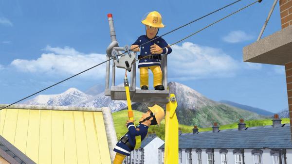 Feuerwehrmann Sam muss Elvis aus der Sperre lösen.   Rechte: KiKA/2014 Prism Art & Design Limited