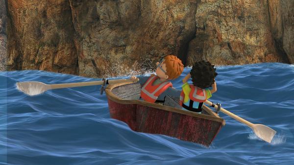 Norman und Mandy treiben auf die gefährlichen Klippen zu. | Rechte: KiKA/2014 Prism Art & Design Limited